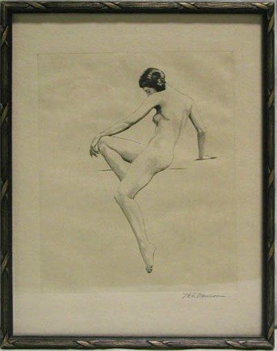 5004: H.T.Dawson etching female, nude posed
