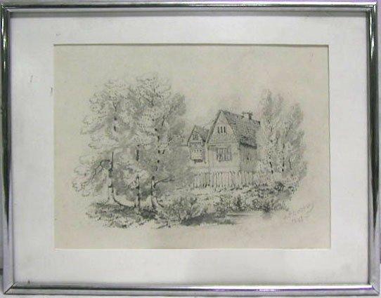 5007: J.T.Cropsey graphite on paper, tudor house