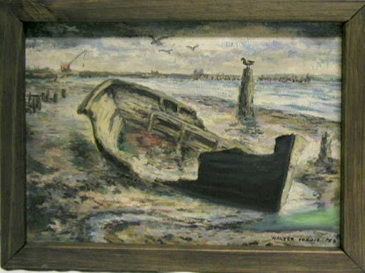 5008: W. Condit oil on board, storm wrecked boat