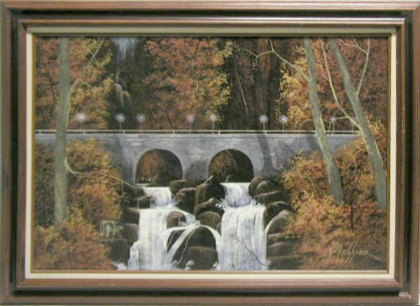 5009: W.E.Messner oil on canvas, wooded landscape