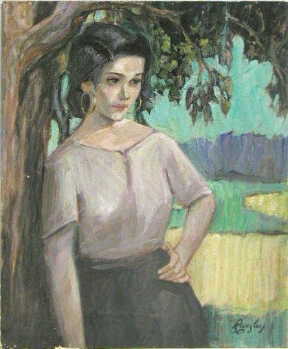 5012: Ransley oil on board, woman