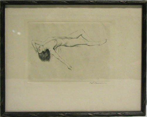 5014: H.T.Dawson etching female, nude posed