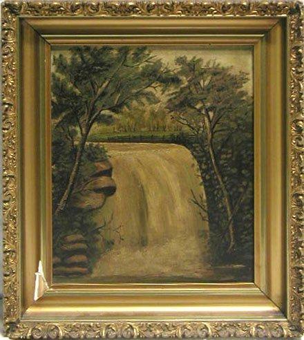 5015: H.J.V.H.[van Hargel?] oil on board, waterfall