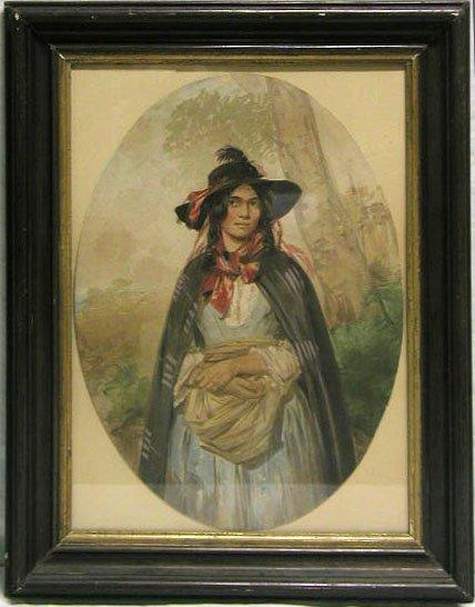 5017: Watercolor on paper, peasant girl