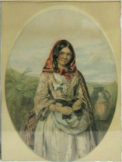 5018: Watercolor on paper, peasant girl