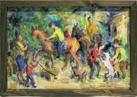5019: W. Condit oil on board, pony riders