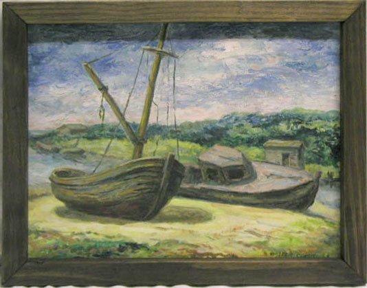 5020: W. Condit oil on board, fishing boats