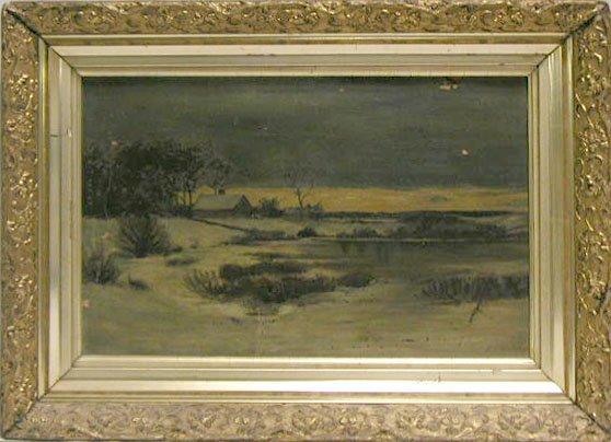 5021: H.J.van Hargel[?] oil on board, snowy landscape