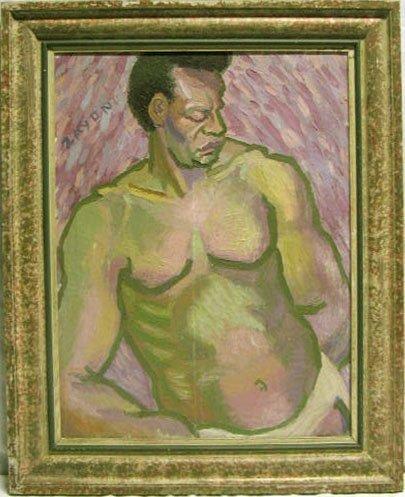 5022: Zayon o/c, study Afro-Amer. male nude