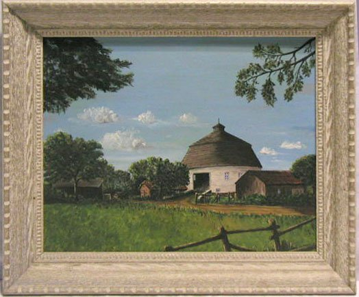 5023: J.W.Powley oil on board, farmhouse - Indiana