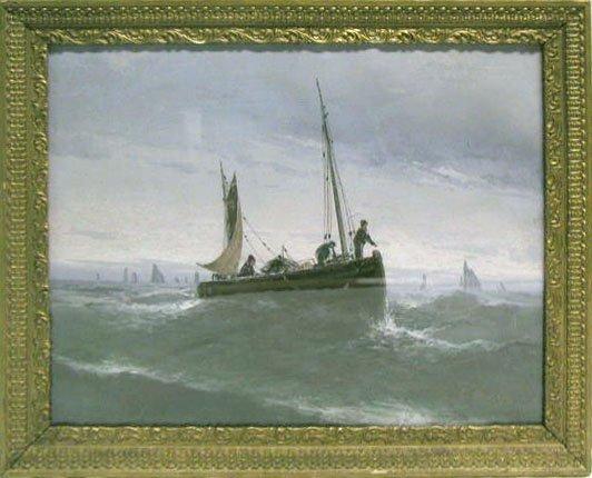 5024: C. Braley pastel, sailing on a choppy sea