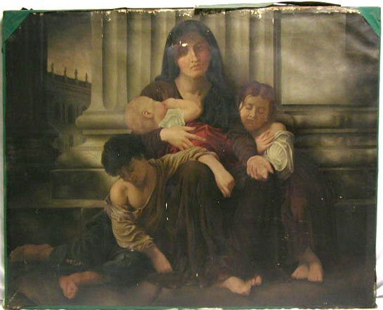 5055: Unsigned oil on canvas, mother and children