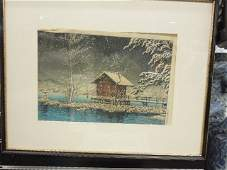 Japanese Woodblock Winter Lake Scene Print