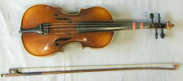 53: 1/2 size German violin labeled Stradivarius