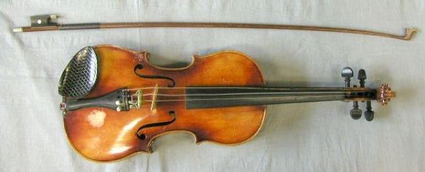 56: 3/4 size violin labeled Anton Schroetter
