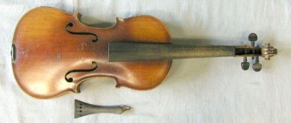 61: violin, German or Czech labeled Stradivarius