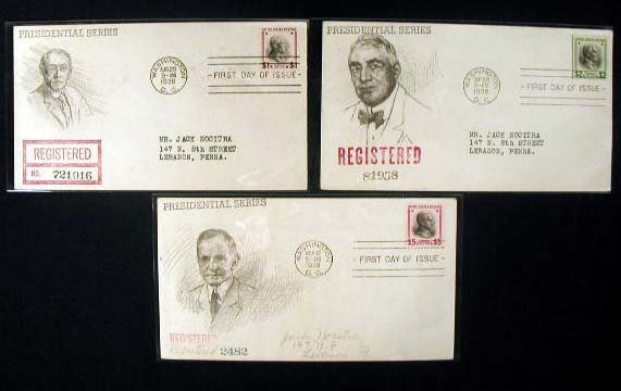 3: Jack Nocitra 1938 Presidential First Day Covers