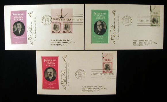 7: Ioor 1938 Presidential Series First Day Covers