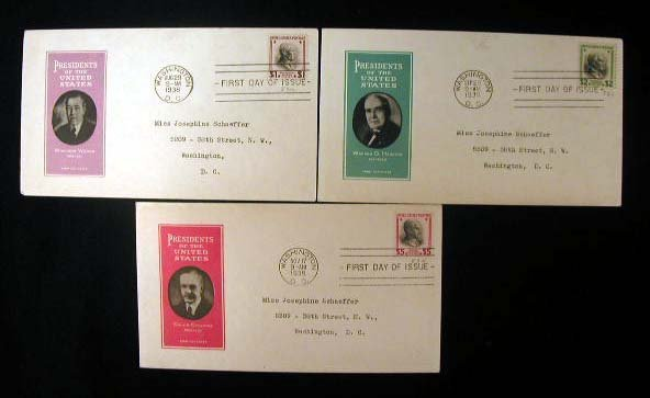 8: Ioor 1938 Presidential Series First Day Covers