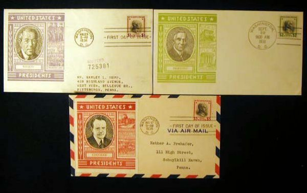 9: L W Staehle 1938 Presidential First Day Covers