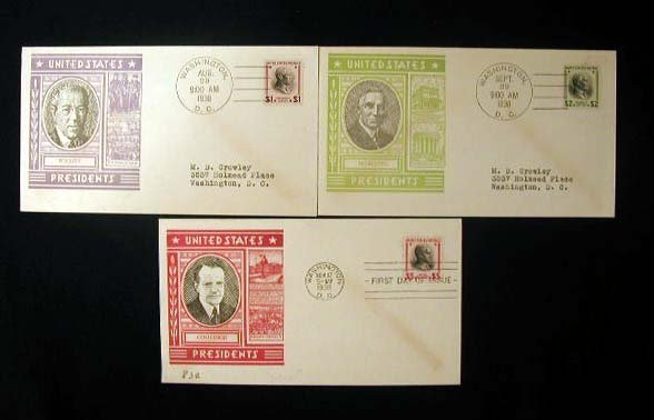 10: L W Staehle 1938 Presidential First Day Covers