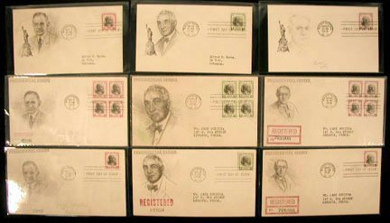 13: A F Harms 1938 Presidential First Day Covers
