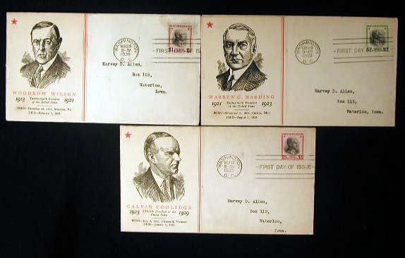 18: Linprint 1938 Presidential First Day Covers