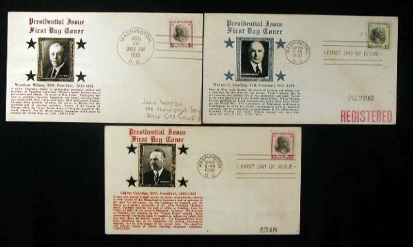20: Crosby 1938 Presidential First Day Covers