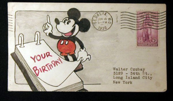 112: 1st Day Cov. Ace Cachet Co.Mickey Mouse 1936