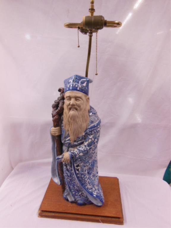 Chinese (Possibly Japanese) Porcelain Scholar Lamp