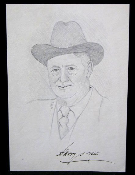 1012: Harry S. New Signed Pencil Sketch