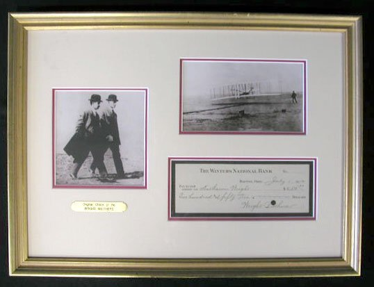 1016: Wright Brothers Signed Check Display