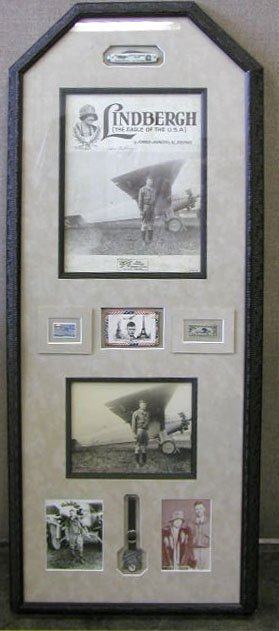1017: Lindbergh Signed Black & White Photo Display