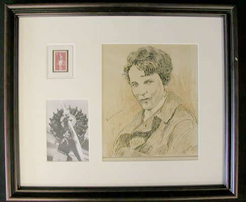 1021: Amelia Earhart Signed Pen & Ink Drawing