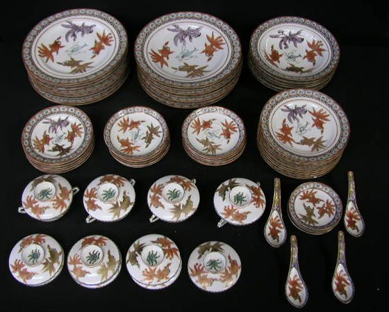1163: 68 pcs Kutani, Early 20th C. porcelain