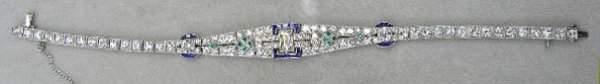 Deco 14K Diamond, Sapphire & Emerald Bracelet