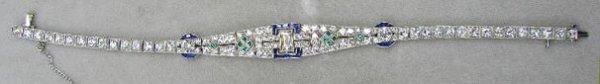 3122: Deco 14K Diamond, Sapphire & Emerald Bracelet
