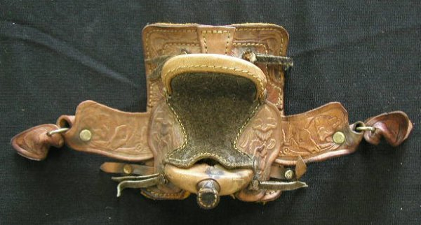 4004: Tooled Leather Miniature Saddle