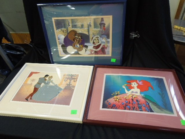 3 Framed Disney Lithographs