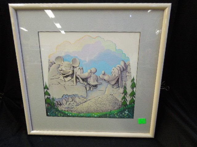 Framed Gouache Disney Mount Rushmore