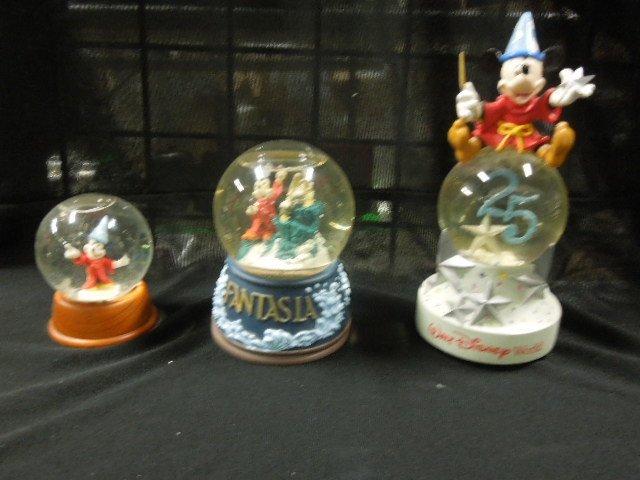 3 Disney Mickey Sorcerer Snowglobes