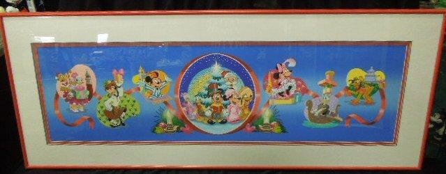 Framed Gouache Mickey & Friends Christmas