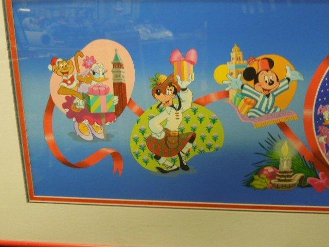 Framed Gouache Mickey & Friends Christmas - 3