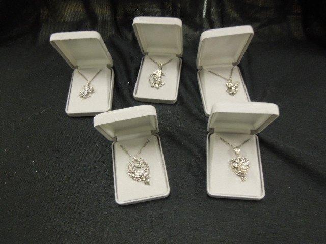 5 Sterling & Marcasite Disney Pendants & Chains