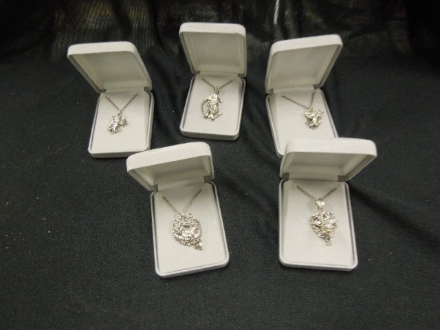 5 Sterling & Marcasite Disney Pendants & Chains