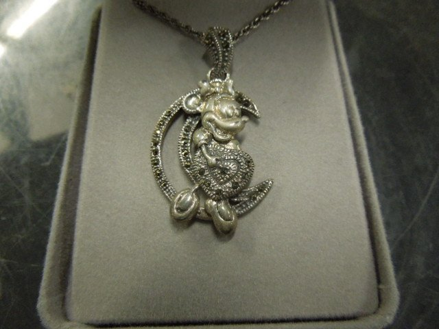 5 Sterling & Marcasite Disney Pendants & Chains - 5
