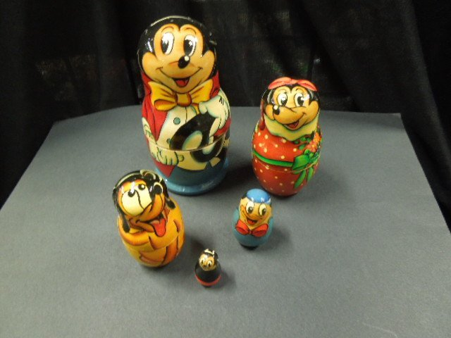 5 Pc Lacquered Disney Nest of Dolls