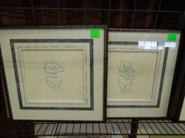 Two Framed Pooh Original Production Drawings