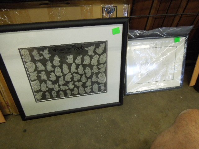Framed Winnie the Pooh Drawings & Other