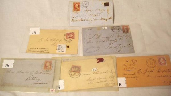 114: Six Stamped Envelopes With Postmarks